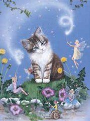 Little Grey and White Kitten Foil Art Print Kitty and Cat Lovers Gift. Low Cost! 8 x 10
