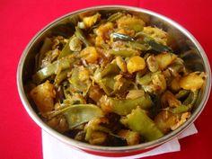 A simple, everyday stir fry recipe that incorporates seasons best lima beans aka chikkudukaya and my favorite root vegetable, potato.