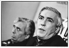Sir Leslie Patterson (Barry Humphries) looks to Sir Arthur Streeb-Greebling (Peter Cook) for role model guidance. Melbourne, 1987.