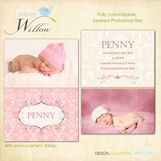 Birth announcement template  Penny  Layered by urbanwillow on Etsy, $8.00