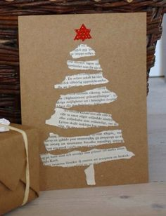 Easy DIY Holiday Crafts - Old Hymnal Tree - Click pic last . - Easy DIY Holiday Crafts – Old Hymnal Tree – Click pic for 25 Handmade Christmas Cards Ideas for - Homemade Christmas Cards, Christmas Crafts For Kids, Holiday Crafts, Christmas Ornaments, Christmas Cards Handmade Kids, Ornaments Ideas, Holiday Pics, Christmas Postcards, Christmas Tree Cards