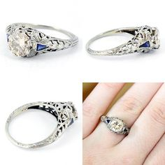 18K Antique 108ct Diamond Blue Sapphire by laurenrosedesign, $3965.00