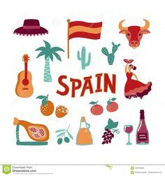 Symbol Drawing, Vintage Travel Posters, Presentation Design, Art Education, Vector Art, Illustration, How To Draw Hands, Spain, Clip Art