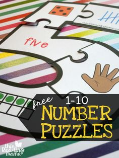 """Printable Number Puzzles for 1-10. These are great for center time and to reinforce different ways to represent a number! """"Print off the number(s) of choice onto cardstock. Cut out the puzzle and mix up the pieces. Use the number template pages for extra support, if needed. These number puzzles are a great way to work on the different ways that numbers can be made. Included are numbers made by: dot patters on dice, number words, counting fingers, base ten blocks, ten frames and tally mark"""