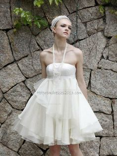 A-line Strapless Ruffled Organza White Mini Short Wedding Dresses [White Mini Short Wedding Dresses] - $159.00 : Discount Dresses for Prom 2013,Up 50% Off http://www.hotpromdresses2013.com