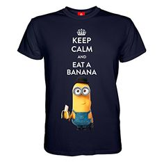 King of Merch - Herren T-Shirt - Minions Keep Calm And Eat A Banana Kevin & Phil Agnes Einhorn Unicorn Scarlet Overkill Herb Bob Stuart Gru Flux Margo Edith Vector Einauge Minion Blau M King http://www.amazon.de/dp/B017VZAVCI/ref=cm_sw_r_pi_dp_Ozkswb1TD8F3C