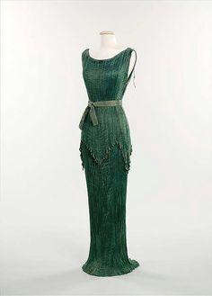 """1930, Italy """"Peplos"""" evening dress by Mariano Fortuny Silk, glass beads MET Museum"""