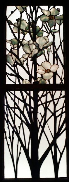 Louis Comfort Tiffany — Detail of Apple Blossom and Magnolia Bloom by Remedy from the norm. Stained Glass Flowers, Stained Glass Designs, Stained Glass Panels, Stained Glass Projects, Stained Glass Patterns, Leaded Glass, Stained Glass Art, Mosaic Glass, Tiffany Glass