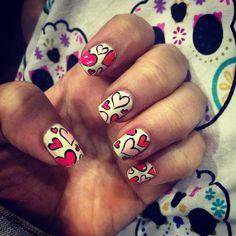 September in Love! Heart nails!