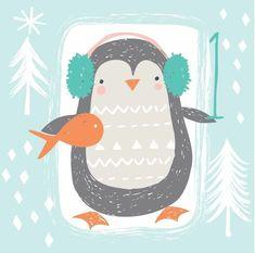 Новогодние иллюстрации,пингвин