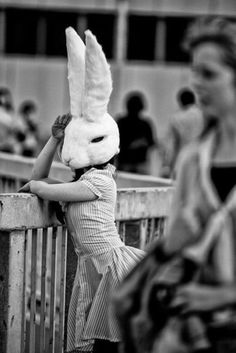 That is a mask. She is a rabbit. She has a rabbit on her face. Film Noir Fotografie, Foto Top, Chesire Cat, Arte Obscura, Arte Horror, Animal Heads, Animal Masks, Photomontage, Black And White Photography