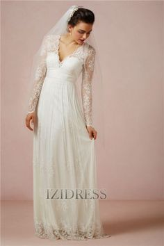 Sheath/Column V-neck Tulle Wedding Dress - IZIDRESSES.com