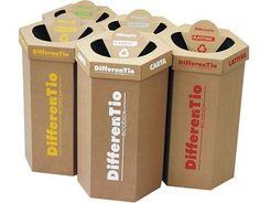 Cardboard octabin / for waste by Eredi Caimi S. Recycling Station, Recycling Center, Cardboard Design, Diy Cardboard, Cardboard Recycling Bins, Waste Container, Foyer Design, Funky Design, Trash Bins