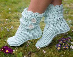 Crochet Golden Yellow Slipper Boots by ZiggysStitches on Etsy