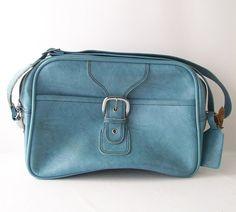 vintage powder blue carry-on tote bag luggage vinyl mens womens unisex mid century modern retro fashion accessories