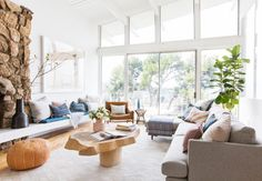 Emily Henderson Living Room Staged To Sell Boho Mid Century Eclectic Blue White Styled Couch Sectional Living Room Modern, Living Room Designs, Living Spaces, Living Rooms, Small Living, Apartment Living, Living Room Furniture, Living Room Decor, Amish Furniture