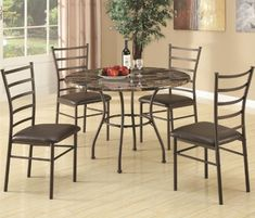 """5pc Dining Table and Chairs Set with Faux Marble Top in Brown Finish by Coaster Home Furnishings. $357.35. Dining and Kitchen->Dining Room Sets->Metal and Wood Dining. Dining and Kitchen. Some assembly may be required. Please see product details.. 5pc Dining Set with Faux Marble Top in Brown Finish. You will receive a total of 1 dining table and 4 chairs. Table: 42""""L x 42""""W x 30.5""""H Chair: 19""""L x 17""""W x 38.25""""H Seat Height: 18"""" Seat Depth: 17"""" Finish: Brown Material: Metal,..."""