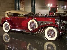 Shortly after Errett Lobsban Cord bought the four-year-old Duesenberg company in 1926, the most valuable and iconic car ever made by a U.S. manufacturer sprang to life: the Duesenberg Model J, which appeared in 1928. The technology-rich 5000-pound cars included self-lubricating chassis, twin-overhead-cam four-valve-per-cylinder inline eight-cylinder engines, with a top speed of 110 mph at the nearby Indianapolis racetrack.  By 1937, E. L. Cord sold the company and no more were made.