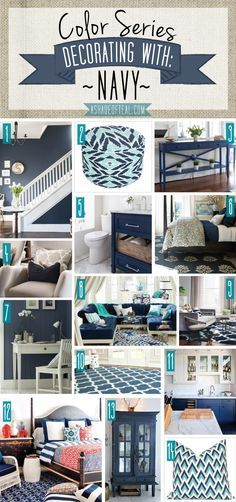 Color Series, Decorating with Navy. Navy home decor.