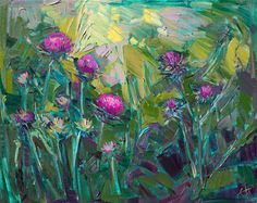 Thistles original oil painting by contemporary expressionist Erin Hanson