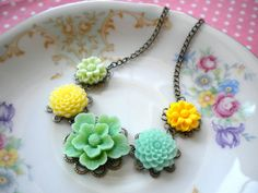 Flower Necklace Green Yellow Choker Necklace by elinacreations, $28.00