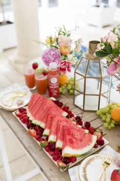 Watermelon platters all weekend long 🍉🍒🍇 Displayed on a long rectangular platter surrounded by cherries, raspberries, and sliced… Summer Dinner Party Menu, Brunch Party, Fashionable Hostess, Healthy Summer, Serving Platters, Fruits And Veggies, Watermelon, Raspberry, Cherries