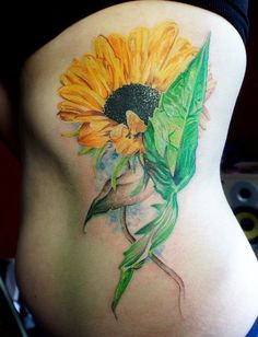 Oil painting sunflower watercolor tattoo on side with leaves - flower, seeds