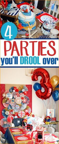 Amazing parties for boys and girls.  Darling Sock Monkey, Nautical, Planes Trains & Automobiles and Union Jack parties.  Stunning decor, cakes and table settings.
