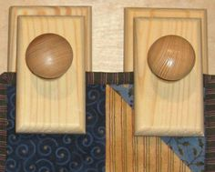 Country Pair Of Pine Quilt Hangers / Clips