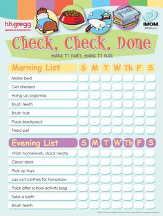 Check, Check, Done Checklist | iMOM Teaching kids about organization