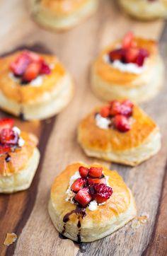 Balsamic Strawberry and Mascarpone Puffs   tablefortwoblog.com