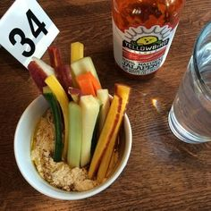 Unleavened Fresh Kitchen - Dallas, TX, United States. Hummus with raw veggies!