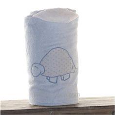 Toalla con capucha  TORTUGA azul  y blanca