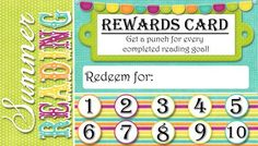 Free summer reading punch card, reading rewards idea