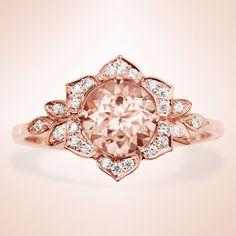 Moganite Engagement Ring, Lilly Rose Flower Unique Engagement Ring, Gemstone engagement ring, leaf ring