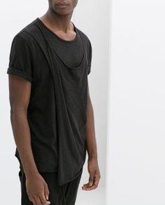 Zara Man Dark - Draped T-Shirt