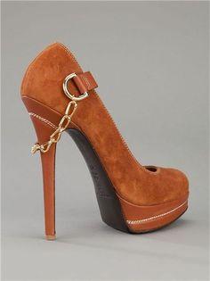 Gianmarco Lorenzi Brown Suede Platform Pumps with High Stiletto Heels & Chain Detail #platformpumpsstilettos