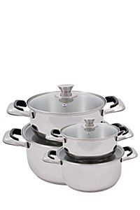 Stainless steel cookware set with mirror polish finish and clear glass lids. Bakelite heat resistant handles and lid knobs. Aluminum encapsulated base for Home Decor Online, Home Decor Store, Mr Price Home, Cookware Set, Clear Glass, Home Furniture, Stainless Steel, Cooking, Cleaning Products