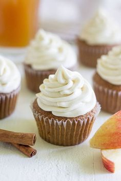 Apple cider cupcakes with Cinnamon Cream Cheese Frosting are a light and fluffy dessert just right for fall! The cupcake is made with apple cider! Who's ready for all things fall?! With the end of