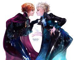 Elsa and Anna as men