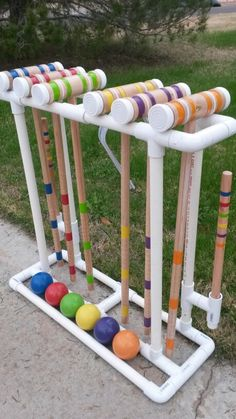 Croquet stand made from PVC pipe
