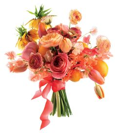 "bold bouquet of tulips, clementines, ""Antike"" and ""Juliet"" garden roses, crown imperials, ranunculus, and sweet peas by Amy Merrick"