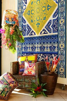 Stunning colours creating an exotic look! #tribalthreads #brightcolours #thehomeaus