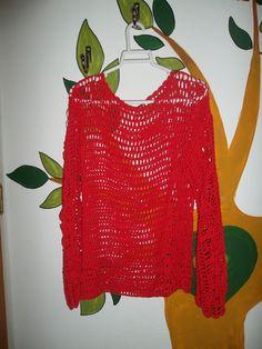 Remera al crochet mangas largas tejida en hilo de algodon rojo