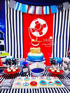 Red and blue nautical birthday party! See more party planning ideas at CatchMyParty.com!