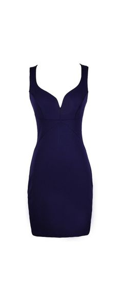 Taking The Plunge Fitted Bodycon Dress in Royal Purple www.lilyboutique.com