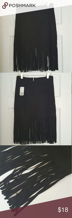 Suede Fringe Skirt Forever 21.  NWT.  Black. High waisted. Zipper up back. Perfect for fall! Forever 21 Skirts