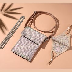 JESSIE NUDE 2 STRAP CROSS BODY PURSE WITH *FREE MATCHING DESTINY MASK – Natalie Mills Smart Phones, Sparkles Glitter, Austrian Crystal, Pearl White, Jessie, Cross Body, String Bikinis, Crossbody Bag, Zipper