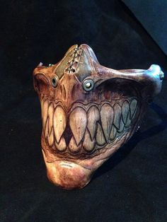 Sharp toothed biker grin leather grin mask. by SkinzNhydez on Etsy, $230.00