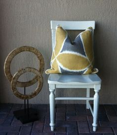 Yellow Pillow.Duralee Ada Pewter by LuxDesignsFlorida on Etsy, $48.00